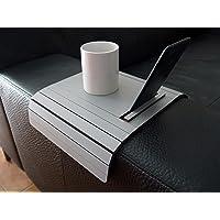 Mini tavolino laterale da bracciolo divano in legno con supporto telefono e ebook reader personalizzabile grigio sasso…