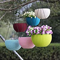 Shree Parshva 6 Pcs Hanging Baskets Rattan Waven Flower Pot Plant Pot with Hanging Chain for Houseplants Garden Balcony…