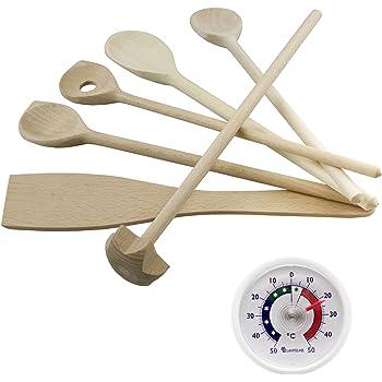 Küchen / Kochhelfer Holz Set 7 tlg. Mit Kochlöffel , Quirl