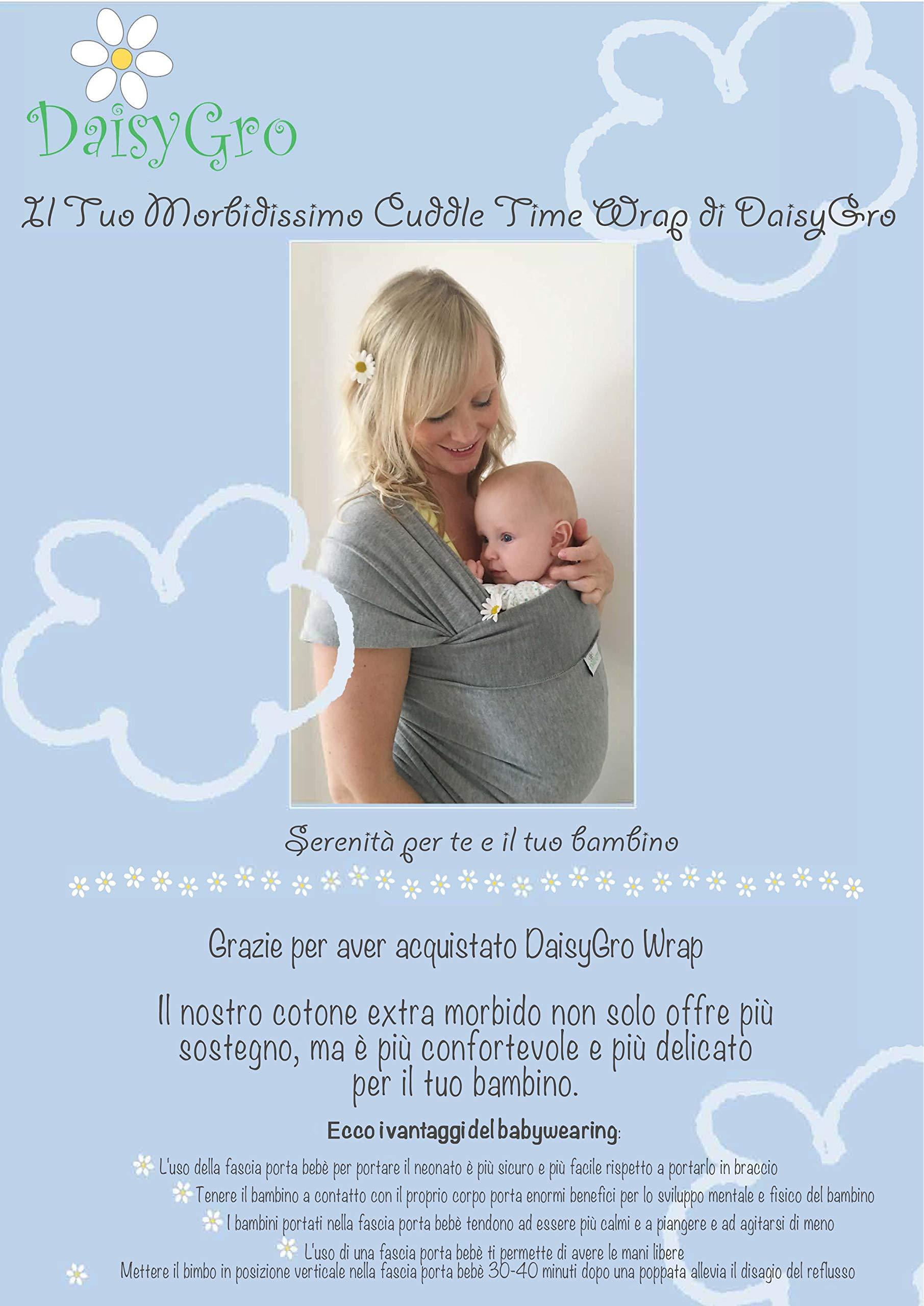 Fascia Porta Bebé DaisyGro, Disponibile in 2 misure, Morbido Cotone, Grigio 3 spesavip