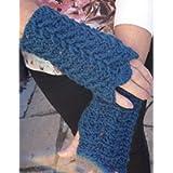 Crochet Fingerless Gloves In Teal Aran With Lovely Open Pattern