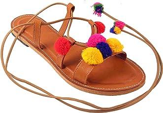 Femme Royale Multi Color Pom Pom Design Dori Sandal Flat for Women's/Girls