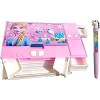 SHREE TECHNESH® Frozzan Printed Jumbo Gadget Pencil Box with Water Glittery Pen (Pink)