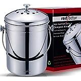 RED FACTOR Deluxe Seau Compost Inodore en Acier Inoxydable pour Cuisine - Poubelle Compost Cuisine - Comprend 6 Filtres à Cha