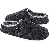LongBay Men's Wool Felt Slippers Lightweight Furry Faux Fur Memory Foam Cushion House Shoes with Handmade Thread Decor