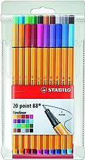 Fineliner - STABILO point 88-20er Pack - mit 20 verschiedenen Farben