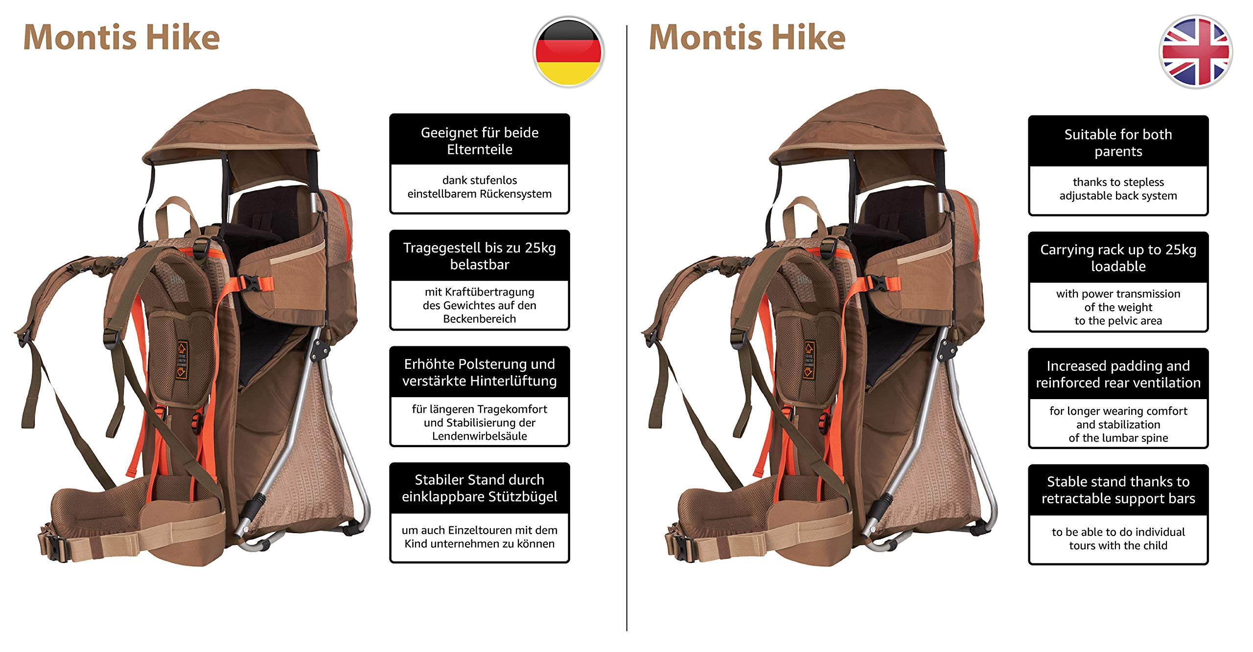 MONTIS HIKE, Premium Back Baby/Child Carrier, Up to 25kg, (mocha) M MONTIS OUTDOOR 89cm high, 37cm wide | up to 25kg | various colours | 28L seat bag Laminated and dirt-repellant outer material | approx. 2.2kg (without extras) Fully-adjustable, padded 5-point child's safety harness | plush lining, raised wind guard, can be filled from both sides | forehead cushion 4