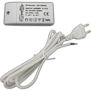 LED Trafo Treiber Netzteil 0,5-15 Watt 12V DC mit weißem Netzkabel ...
