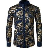 JOGAL Men's Henley Shirts Metallic Gold Print Paisley Button Down Dress Shirt