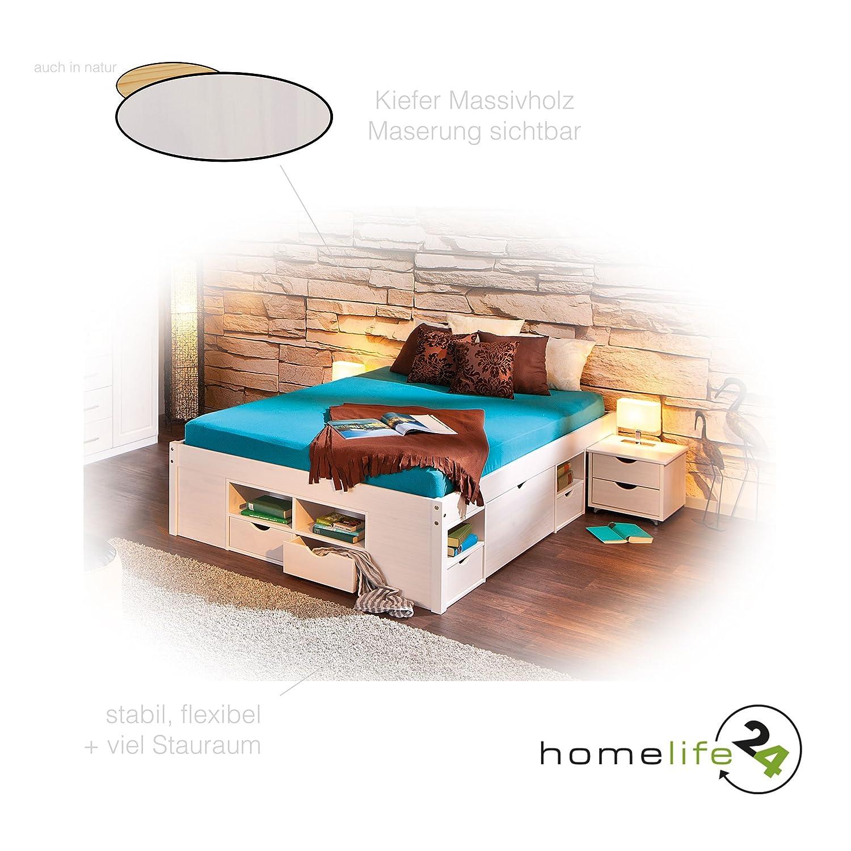 Funktionsbett 160x200  Bett 180x200 cm Doppelbett Stauraumbett Funktionsbett weiß Rost ...