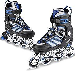 WeSkate Inline Skates Rollschuhe mit ABEC-7 Kugellager und 80MM 82A Rollen, Größe Verstellbar 41-44 für Anfänger, Blau-Schwarz