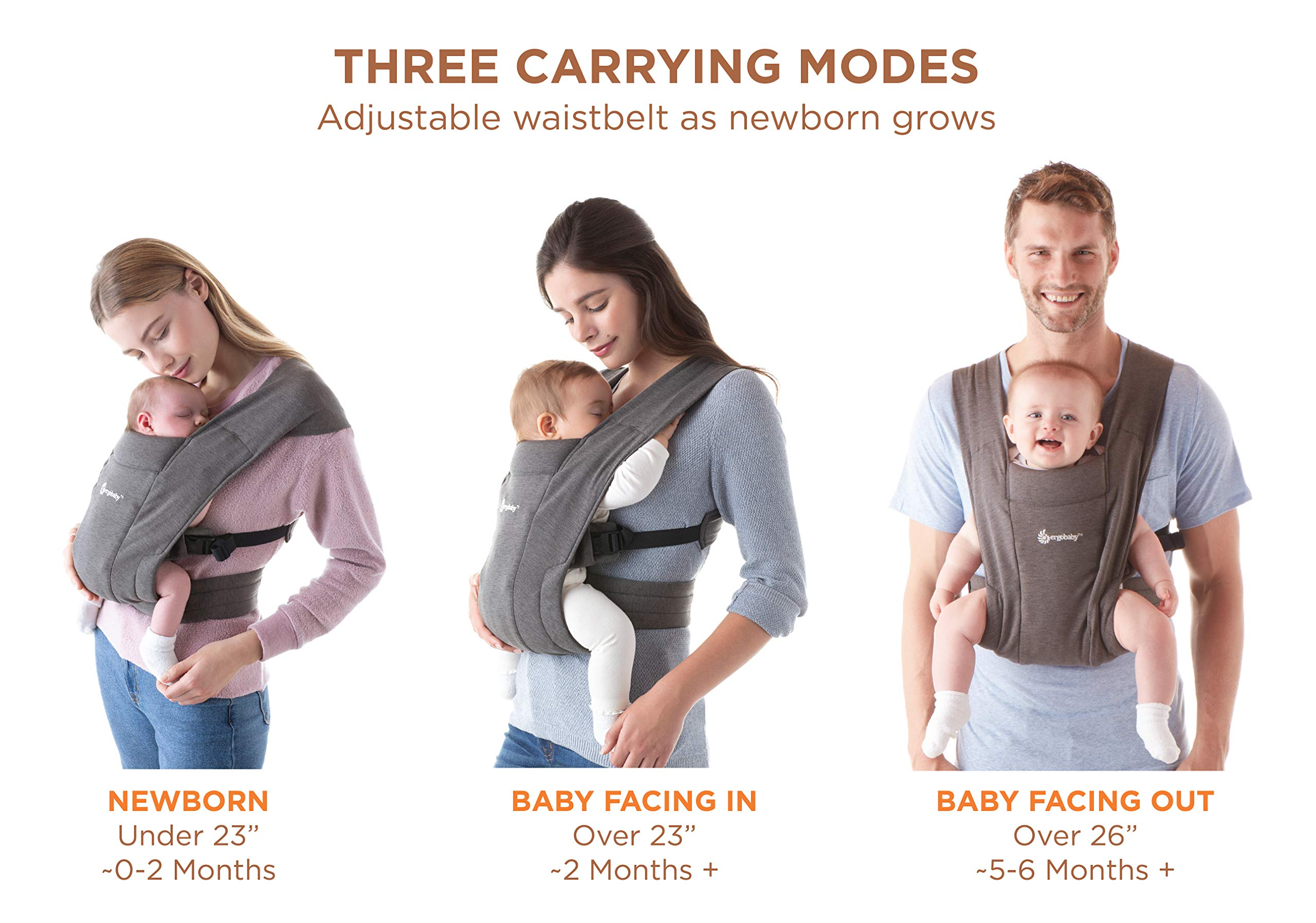 """ErgobabyEmbraceBaby Carrier for Newborns from Birth with Head Support, Extra Soft and Ergonomic (Pure Black) Ergobaby ERGONOMIC BABY CARRIER FROM BIRTH - Carry your newborn baby (3.2 - 11.3kg) snuggled close to you. The baby carrier supports the ergonomic frog-leg position (""""M"""" shape position) of the baby. NEW - The Ergobaby Embrace 2-position Carrier has been specially developed for newborns and babies. A baby carry system for quick and easy use. ULTRA-LIGHT & SUPER SOFT - Less material against the child and open-sided to allow good air circulation. Made from super soft jersey fabric, Oeko-Tex100 certified. Lightweight carrier (approx. 480g). 7"""