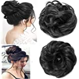 D-DIVINE Women's and Girl's Synthetic Hair Bun Extension (Pack of 1, Black)