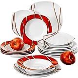 MALACASA, Série Felisa, 18pcs Services de Table Porcelaine, 6 Assiettes Creuse, 6 Assiettes à Dessert, 6 Assiettes Plates pou