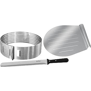 Zenker Torten Set inkl. Tortenheber, Tortenmesser & Tortenboden-Schneidhilfe, Torten-Zubehör aus Edelstahl (Farbe: silber), Menge 1 x 3er Set