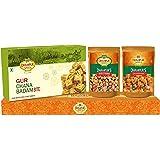 Dhampure Speciality Jaggery Gur Badam Bite Patisa Burfi, Gur Chana and Gur Shakkarpare Indian Sweet Mithai Snacks Gift Box Co