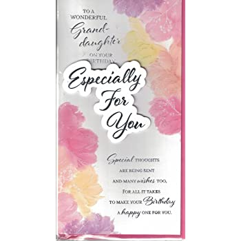 Granddaughter Birthday Card Wishes Just For You Modern Foil Flower Slim