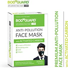 BodyGuard Reusable Anti Pollution Face Mask with Activated Carbon, N99 + PM2.5 for Men and Women