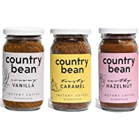 Country Bean Instant Coffee Powder | Hazelnut | Caramel | Vanilla Flavors, Pack of 3 X 60 G