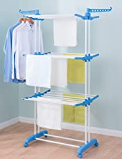 Tian Blossoms Foldable Clothes Laundry Drying Rack With Foldable Wings Shape Standing Airfoil-Style Rack Hanging Rods,3 Layer & Four 360 Degree Wheels
