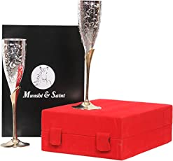 Munshi & Saint Silver Plated 100% Pure Brass Premium Goblet Champagne Flutes Coupes Wine Glass, Set of 2