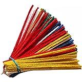 Lot de 100 cure-pipes GERMANUS en fil chenille coloré, rouge, jaune, bleu, vert, blanc, pour bricolage et décoration pour enf