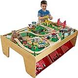 KidKraft 17850 Waterfall Mountain houten treinbaanset met tafel voor kinderen, spoorwegactiviteitenset inclusief accessoires