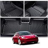 CDEFG Autovloermatten, waterdicht, eenvoudig te reinigen, voor Tesla Model 3 2021, premium all-weather matten voor en achter,