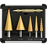 V VONTOX Stap Boor 5 stks, Hoge Snelheid Staal 4241Titanium Coated Cone Step Boor met Automatische Center Punch, voor DIY Kun