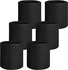 Verceys Unisex Sports Wrist Sweatbands Hand Wrap Tennis Badminton Band Black - Pack Of 6 Bands