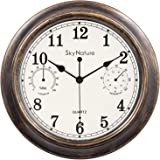 Vintage Wall Clock, 30cm Indoor/Outdoor Decorative Clock with Thermometer and Hygrometer Combo, Silent Non-Ticking Battery Op