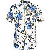 SSLR Camisa Manga Corta Estampado Floral Rosas Estilo Hawaiana Veraniega para Hombre