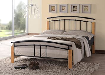 thiago contemporary wooden beech and black metal bed frame bedroom furniture 4ft6 double - Black Metal Bed Frame