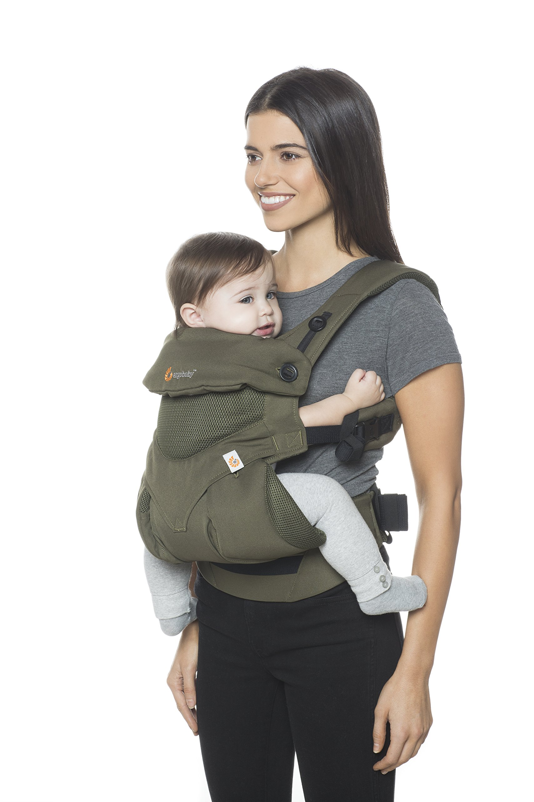 Ergobaby Baby Carrier up to 3 years (12-45 lbs) 360 Cool Air Khaki Green, 4 Ergonomic Carry Positions, Front Back Baby Carrier front facing, Backpack Ergobaby Ergonomic baby carrier for the summer, with 4 ergonomic carry positions: front-inward, back, hip, and front-outward. The carrier is suitable for babies and toddlers weighing 5.5-20 kg (12-45 lbs), and can be used as a back carrier. Also with insert for newborn babies weighing 3.2-5.5 kg (7-12 lbs), sold separately. NEW - The waistbelt with lumbar support can be worn a little higher or lower to support the lower back and provide optimal comfort, and has adjustable padded shoulder straps. The carrier is suitable for men and women. Maximum baby comfort - Breathable 3D air mesh material provides an optimal temperature for your baby on warm days. The structured bucket seat supports the correct frog-leg position for the baby. The carrier also has a neck support and privacy hood with 50+ UV sun protection. 6