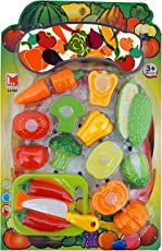 Sliceable Fruits and Vegetables Kitchen Set Toy with various Fruits,Vegetables,Kinfe and Cutting Board,10 pcs