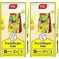 PIC - Fruchtfliegenfalle, Obstfliegenfalle und Essigfliegenfalle - 2 Lockstoffbehälter mit 4 Leimfallen für extra Lange…