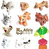 Aliris 10 Bauernhoftiere und 5 Zäune - Kompatibel mit Duplo