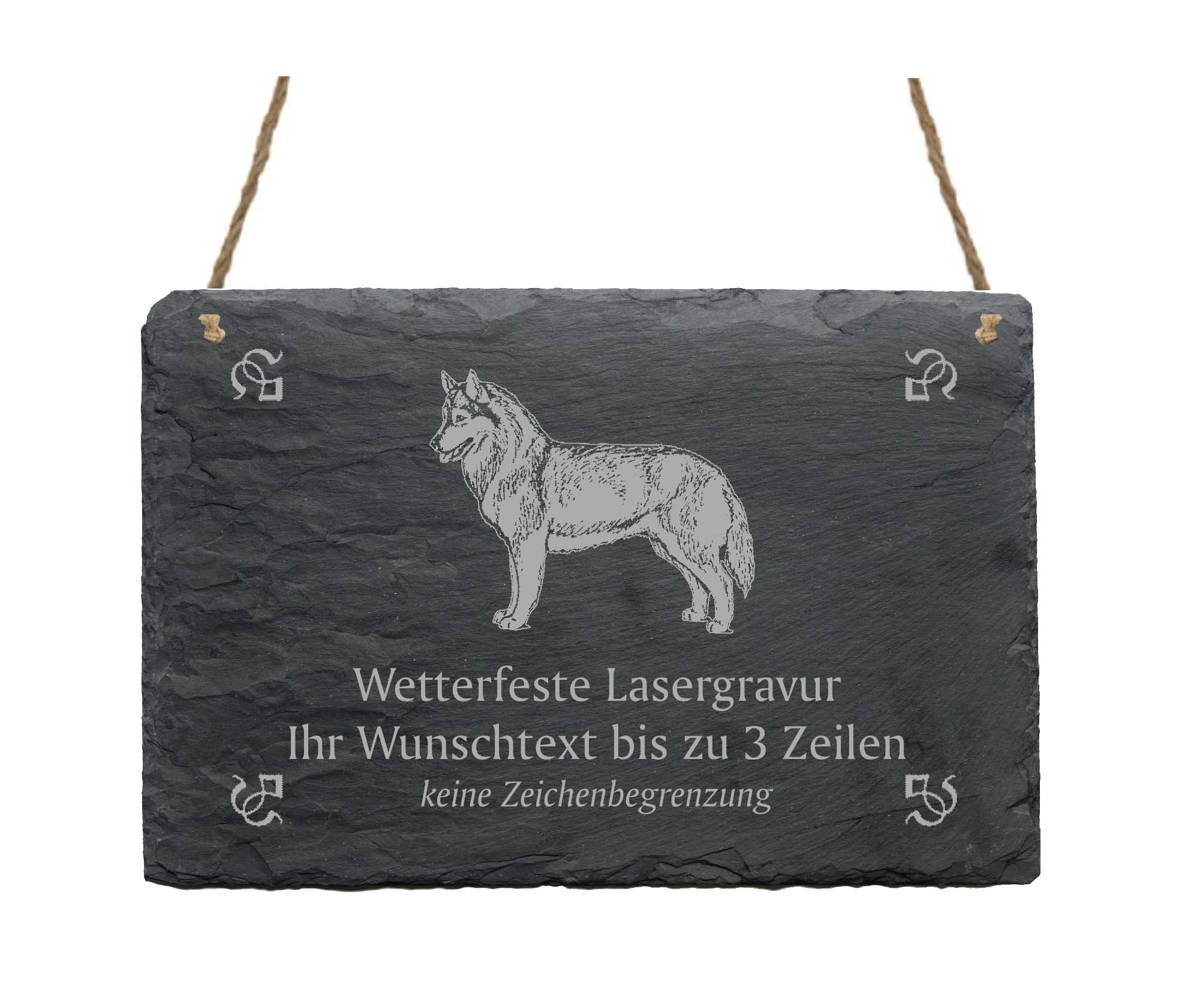 "Slate Siberian Husky ""Your Text/Design 22 x 16 cm – Dog Sign"