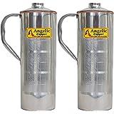 Angelic Copper Steel Water Bottle Set, 650 ml, Set of 2, Steel/Copper