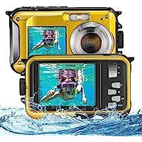 Vogvigo Fotocamera Subacquea, Full HD 2.7K 48MP Snorkeling Doppio Schermo Macchina Fotografica Bambini Zoom Digitale 16X…