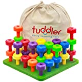 Tuddler Pegs Educational Board: Ensemble de Chevilles empilables de Couleur vive / Jouet éducatif Montessori pour Enfants + C