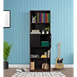 Trevi Eden Engineered Wood Semi Open Book Shelf   Walnut   Black