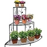 Kundi 3 Tier Plant Stand Floral Corner Shelf Metal Flower Pot Rack Stair-Step Style Display Ladder for Garden Balcony Indoor