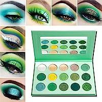 Palette Ombretti Professionali Verde Opachi,Afflano Eyeshadow Palette Avocado Green Glitter Matte Shimmer 15 Colors…
