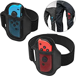 MENEEA Cinghie per le gambe per Nintendo Switch Ring Fit Adventure, JoyCon Controller Game Accessori, Cinghia elastica regolabile per Switch Games, Due taglie per adulti e bambini (2 pezzi)