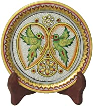 eCraftIndia Parrot Decorative Marble Plate (6 in, Green)