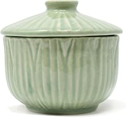 The Himalayan Goods Company Ceramic Stone Ware Bowl with Lid (500ml, Sea Green)
