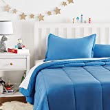 AmazonBasics Kid's Comforter Set - Soft, Easy-Wash Microfiber - Full/Queen, Azure Blue