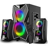NJSJ Système de Haut-Parleurs de jeu 2.1 PC avec Caisson de Basses Bluetooth et Haut-Parleurs Multimédia avec éclairage LED,