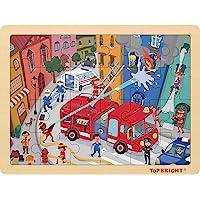 TOP BRIGHT 24 Pièces Puzzles pour Enfant de 3-5 Ans, Jigsaw Puzzle Pompier en Bois avec Cadre pour Garçon et Fille de 4…